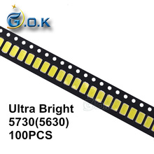 100pcs Ultra Bright LED SMD chip 5730 5630 0.5W 50-55lm 6000-6500K White Surface Mount Light-Emitting Diode LED SMT Bead Lamp