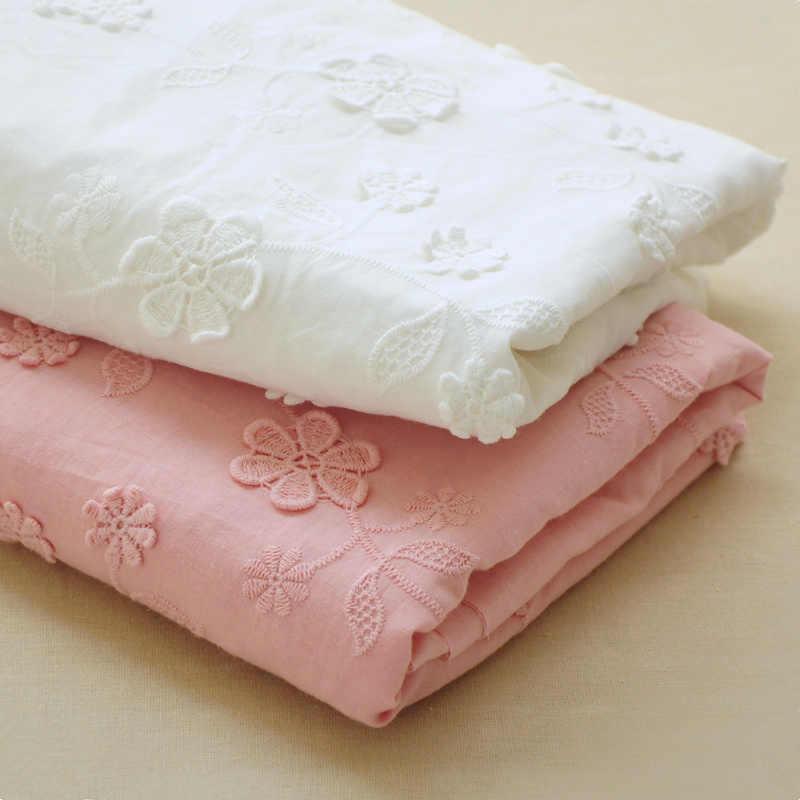 Летняя Новинка, чистый хлопок, однотонная вышивка, цветы, кружево, ткань, кукла, платье, юбка, ткань