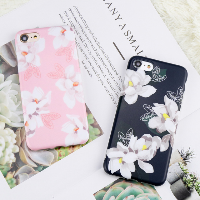 Girly Cute Cartoon White Flower Print Phone Case For Iphone 6 6s 7 8