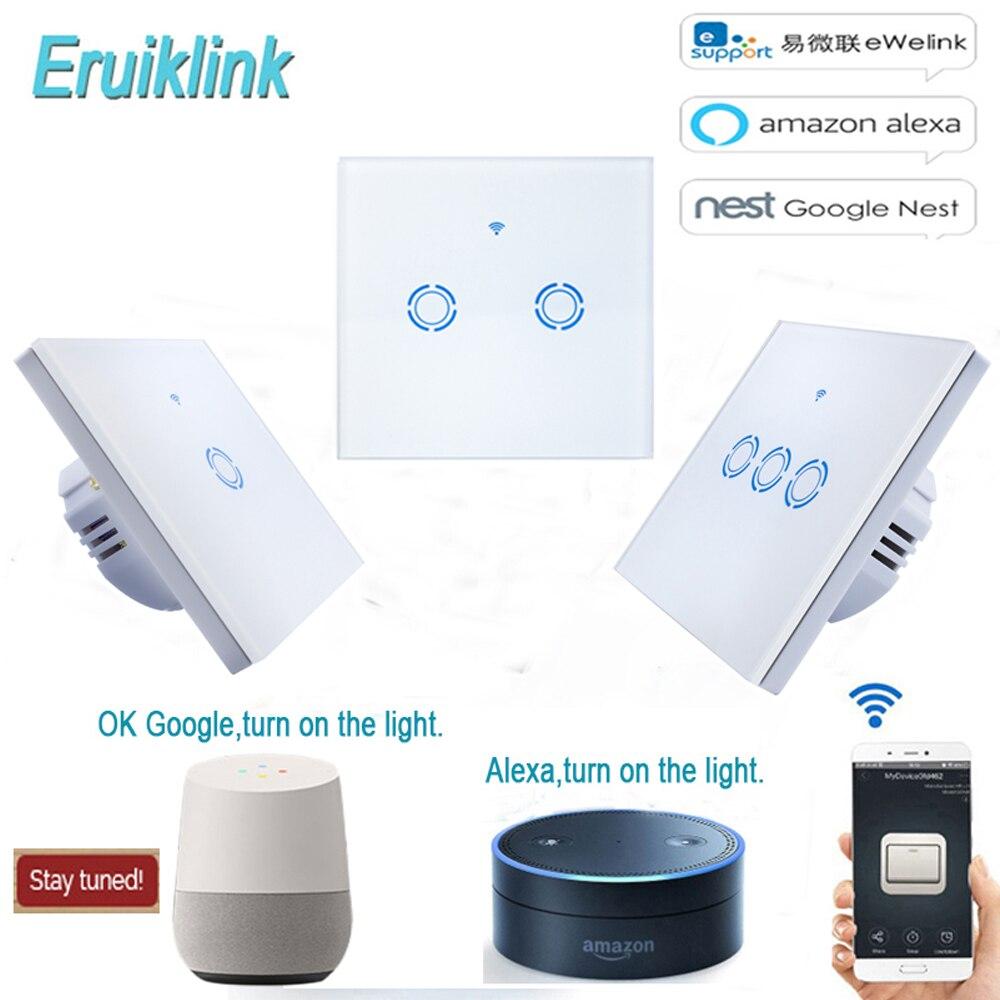 Ue wi fi interruptor de luz painel vidro toque led interruptor luz para casa inteligente sem fio interruptor remoto ewelink app trabalho com alexa