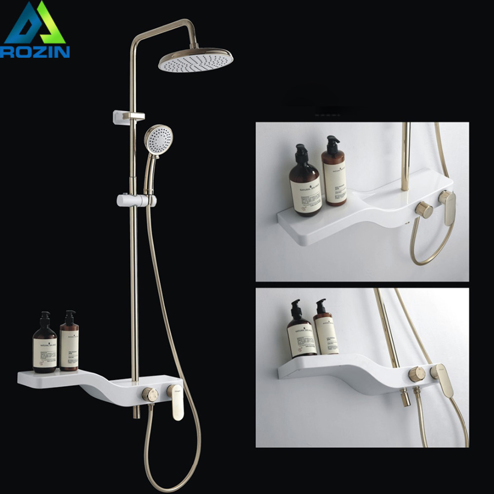 White Golden Shower Faucet with shelf Wall Mount Rainfall Tub Shower Mixers Height Adjustable Shower System Storage Rack Tap