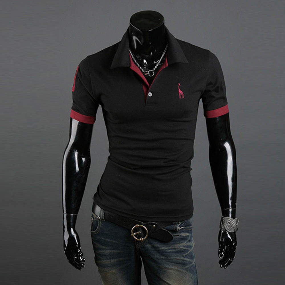 Men Casual Tops Tee V Neck Solid Polo Shirts Slim Fit Short Sleeve