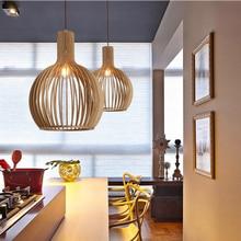 Modern Black Wood Birdcage E27 bulb Pendant light for living room Bedroom study room deco bamboo weaving wooden Pendant lamp modern wood e27 bulb pendant lamp norbic home deco living room bird cage pendant light fixture