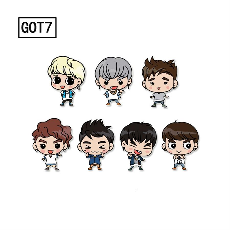 Kpop GOT7 Badge Yugyeom Mark Cartoon Acrylic Brooches Pin For Clothes Hat Backpack Accessories DIY