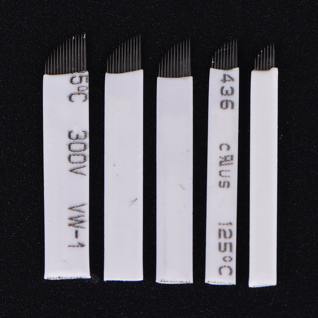 New 10Pcs/Set Pins Needle Blade 7/9/11/12/14 Pins Makeup Eyebrow Tattoo Microblading Needles For 3D Embroidery Manual Tattoo Pen 2