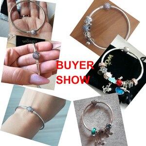 Image 4 - Подлинный 925 пробы серебряный браслет с подвесками, оригинальный браслет с бусинами и цепочкой, браслет для женщин, уникальный браслет, подходит для самостоятельного изготовления ювелирных изделий, подарок