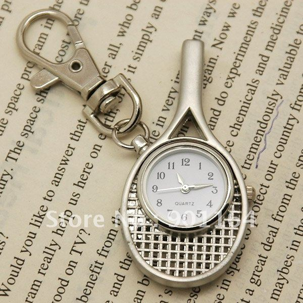 Freeshipping Fashion Classics Pocket Watches with Key Chain Tennis Racket Necklace Watches Silver -Tone