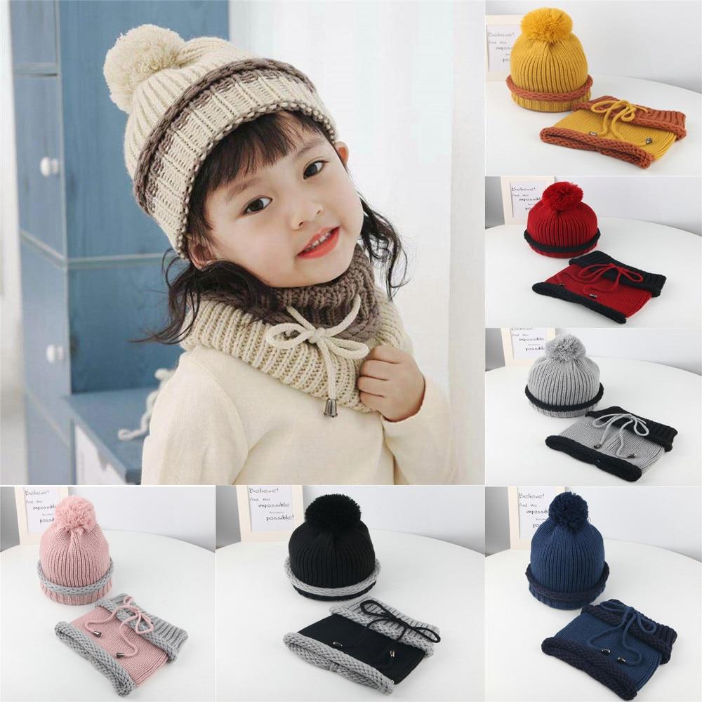 Accessories Impartial Baby Children Hat Scarf Suit Warm Winter Hairball Knitted Beanie Hat Cap+scarf Set Suit Bonnet Enfant Czapka Dziecko Kids Hat Hats & Caps