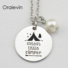CUTEST LITTLE CAMPER Inspirational Hand Stamped Engraved Custom Pendant Female Necklace Fashion Jewelry,10Pcs/Lot, #LN2079