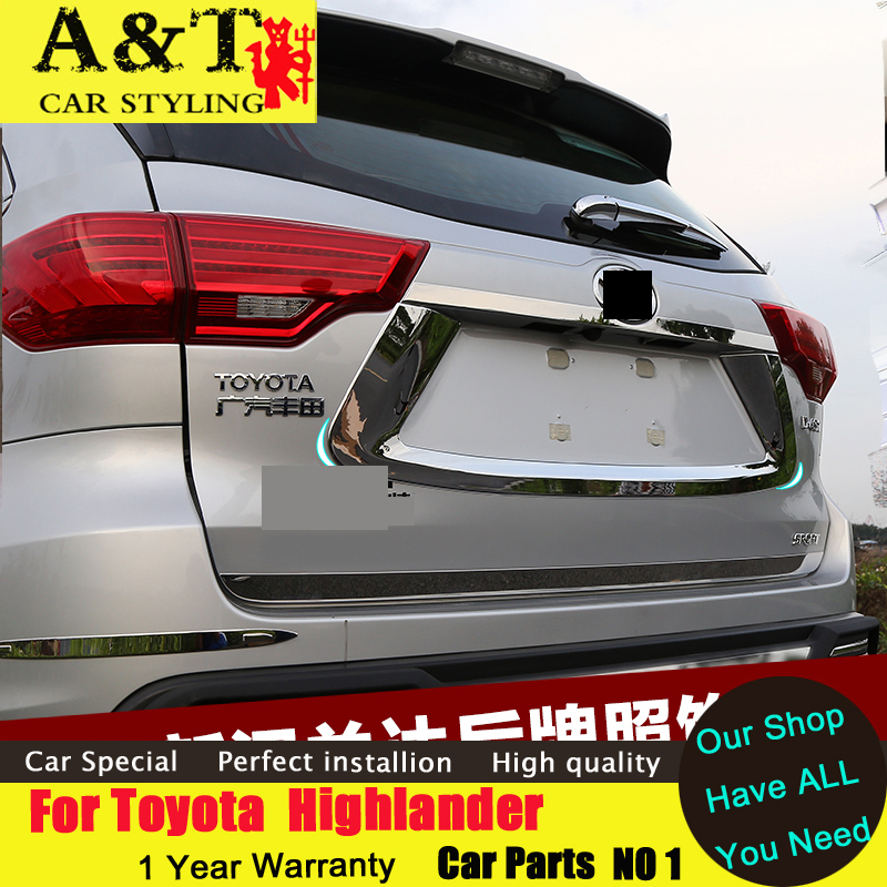 JGRT car styling For Toyota Highlander trunk chrome stickers 2015-2017 Highlander dedicated trunk trim chromium st stainless steel strips for toyota highlander 2011 2012 2013 car styling full window trim decoration oem 16 8
