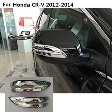 Car ABS chrome back rear view Rearview Side Mirror Strip stick trim panel 2pcs For Honda CRV 2012 2013 2014
