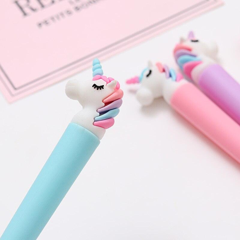 Image 4 - 100 Pcs Korean Cartoon Unicorn Black Signature Pen Student Writes Neutral Pen Office Pen Exam Pen Stationery-in Gel Pens from Office & School Supplies