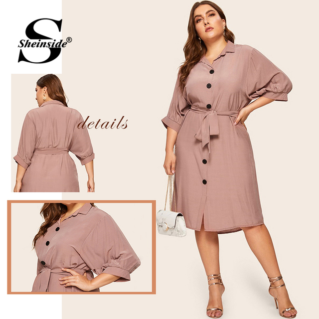 Sheinside Plus Size Casual Button Detail Shirt Dress Women 2019 Spring Half Sleeve Straight Dresses Ladies Solid Midi Dress 5