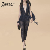 INDRESSME Women Celebrity Runway Jumpsuits Lace Up Elegant Bow Sequined Rompers Jumpsuit Sexy Bodycon Bodysuit 2018 Fashion