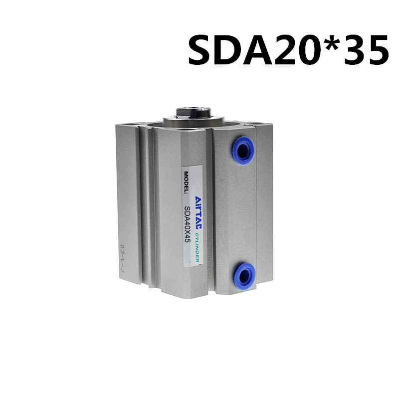 SDA20-35 Airtac Compact Cylinder Bore 20mm Stroke 35mm Double Acting Pneumatic Air Cylinders SDA20x35 20*35 Thin Type Cylinder 16mm bore 40mm stroke tn16 40 compact double acting pneumatic air cylinder