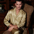 Wholesales Pure Silk Satin Sleepwear Sale Long-Sleeve Men Pyjamas Pajama Sets Pants 100% Natural Silk Pajama Set YE0170