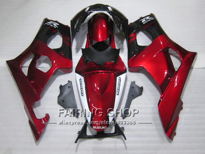 Injection mold high quality fairings for Suzuki GSXR1000 03 04 K3 K4 wine red black fairing kit GSXR 1000 2003 2004 WT32 100% fit for suzuki injection molding gsxr1000 fairing kit k3 k4 2003 2004 brown black fairings set gsxr 1000 03 04 ap34