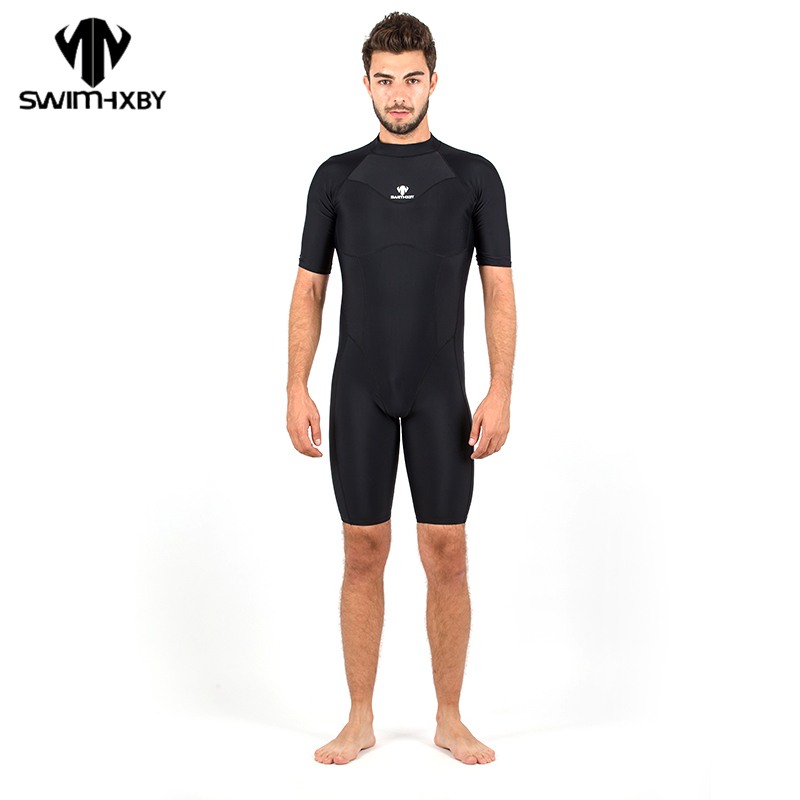 HXBY One Piece Black Triangle Training Swimsuit Men Competition Waterproof Male Swimwear Bathing Suit High Quality bijoux land браслет