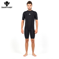 HXBY One Piece Black Triangle Training Swimsuit Men Competition Waterproof Male Swimwear Bathing Suit High Quality