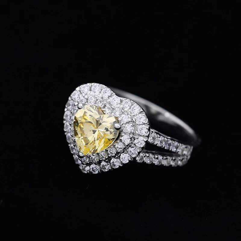 2CT צורת לב צהוב יהלומים סינטטיים טבעת נישואים זהב לבן טבעת כסף סטרלינג מוצק כיסוי מתנת תכשיטים הטובה ביותר עבור גברת