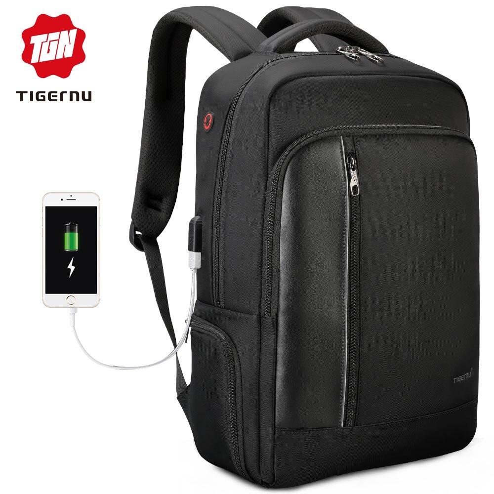 Tigernu Brand High Quality Water Repellent Nylon Men 15.6 inch Laptop Backpack Black&Purple Anti Theft Business Travel Schoolbag