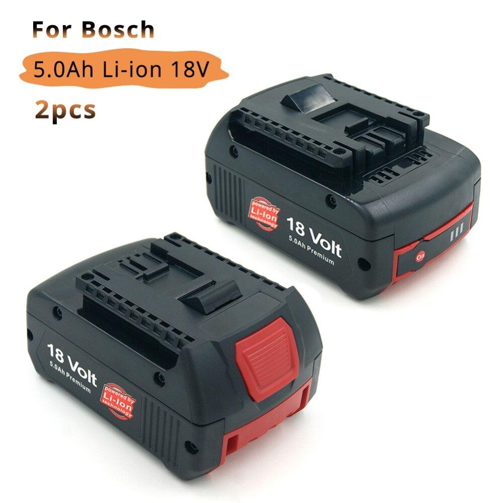 2 pz 5000 mah 18 v Strumento di Potere di Litio Batteria di Ricambio per Bosch BAT609 BAT618 BAT620 BAT622 3601H61S10 Indicatore LED