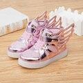 Привело обувь дети Новый 2016 детская обувь Мода кроссовки крылья СВЕТОДИОДНЫЕ Светящиеся Обувь Новорожденных девочек и малышей мальчики Повседневная Спортивная кроссовки