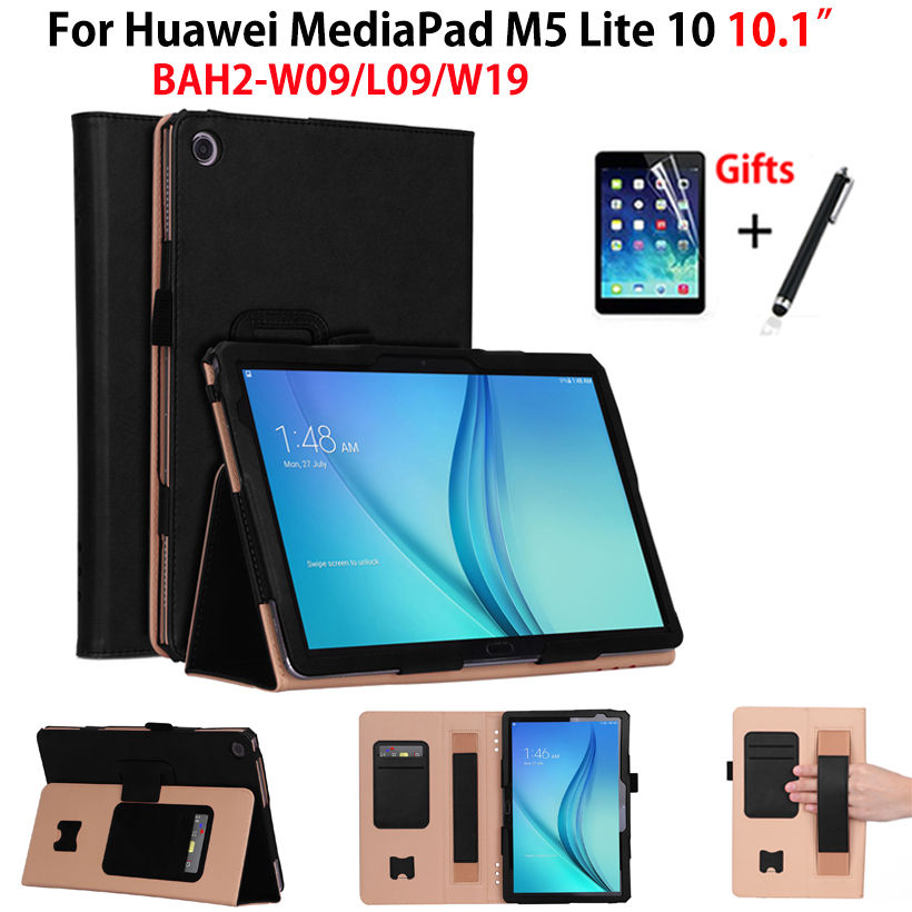 Luxury Case For Huawei MediaPad M5 lite 10 BAH2-L09/W09/W19 10.1 Cover Funda Tablet PU Leather Hand Holder Stand Shell+Film+PenLuxury Case For Huawei MediaPad M5 lite 10 BAH2-L09/W09/W19 10.1 Cover Funda Tablet PU Leather Hand Holder Stand Shell+Film+Pen