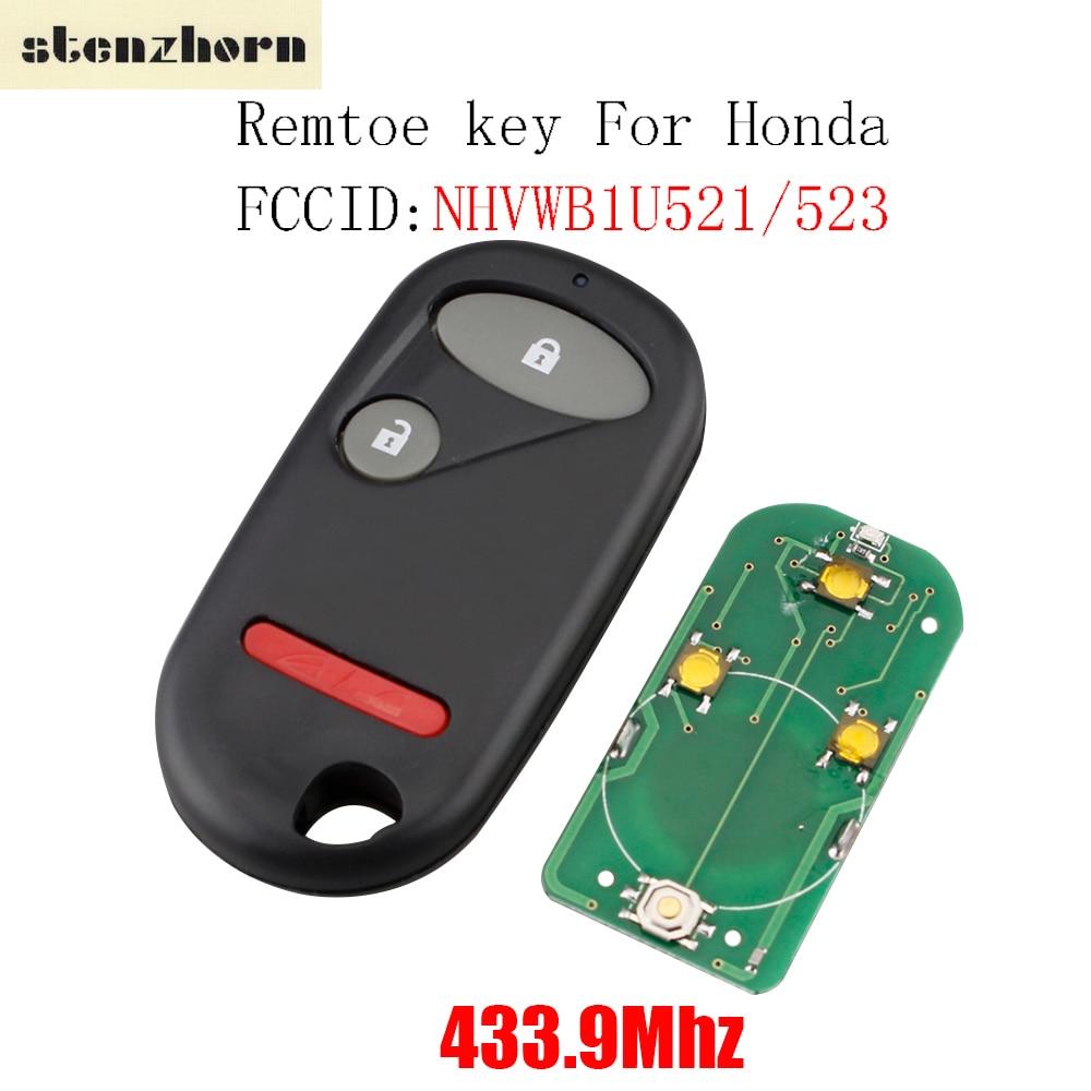 Stenzhorn 433.9Mhz Remote Control Keyless Key Fob Fit For Honda NHVWB1U523 For Honda Civic 2001 2002 2003 2004 2005 2+1 Buttons цена
