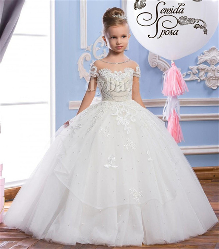 Withe Ball Gowns with Button Bow Back Illusion Neck First Communion   Dress   Princess   Dress   Sheer Custom Made For Little   Girls