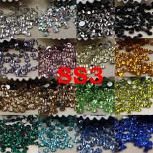 SS3/1.2mm 25Colors 1440pcs Strass Nail Art Glass FlatBack Nail Rhinestone 3D Non HotFix Nail Art Decoration DIY Glass Manicure