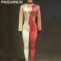 Hot Sale Sexy Stage Red White Pattern Jumpsuit Singer Sexy Stage Outfit Bodysuit Dance Costume Glisten Stretch Rompers