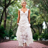 Pretty Floral Lace Rustic Wedding Dresses V Neck Cap Sleeve Country Style Lace Wedding Dress Backless