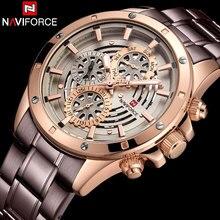 NAVIFORCE новый лучший бренд кварцевые часы Роскошные для мужчин часы Мода Мужские наручные часы нержавеющая сталь Relogio Masculino Saatler