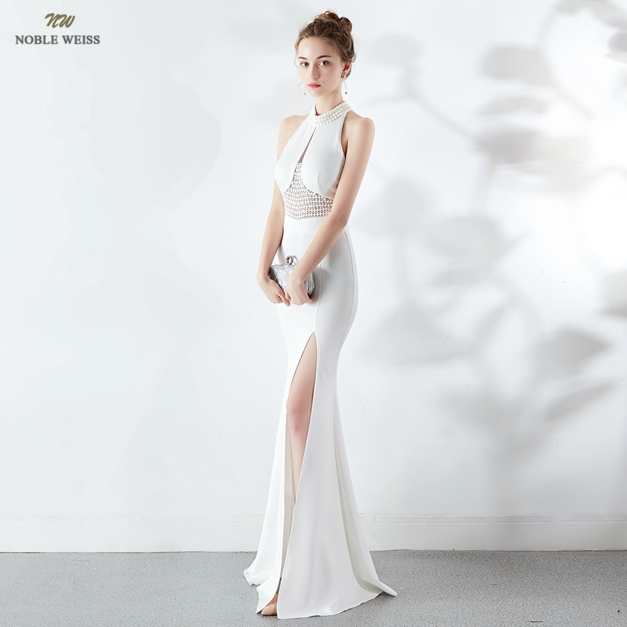Robes de bal 2019 licou robe de bal sexy perles vestidos de gala zipper dos sirène longueur de plancher robe de bal
