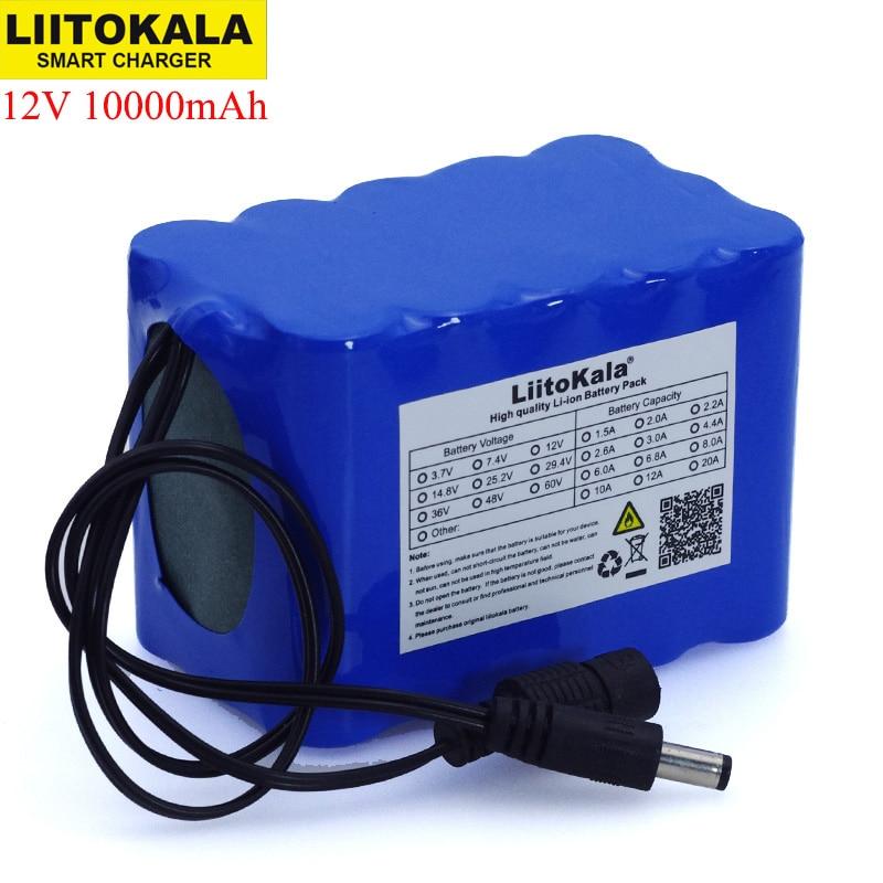 Liitokala-batería de ion de litio de 18650 V, 12,6 mAh, con placa de protección de circuito BMS, fuente de alimentación de respaldo de 10000x5,5mm, 12V, 10Ah, 2,1