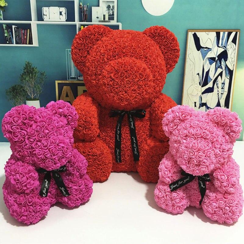 Flores artificiales oso Multicolor de espuma de plástico Rosa oso de peluche de novia regalo de día de San Valentín decoración de la fiesta de cumpleaños