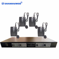 Professional Dynamic UHF 4 channel collar clip wirless karaoke microphone system customized Mic Player Communication Speaker