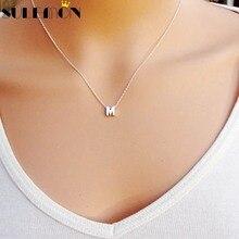 Модное серебряное ожерелье с подвеской, металлические буквы для ювелирных изделий, индивидуальная огранка с буквами, одиночное M ожерелье с золотой цепочкой