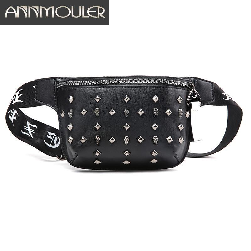 Annmouler Unisex Women Waist Bag Pu Leather Rivet Fanny Pack High Quality Skull Waist Belt Pack Rock Bum Bag
