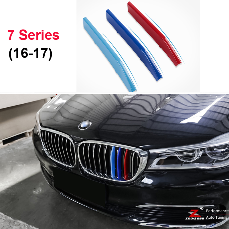 For 2016-2017 BMW 7 series G11 G12 740i 750i  3D M Styling Front Grille Trim motorsport Strips grill Cover Stickers motorsport manager [pc jewel]