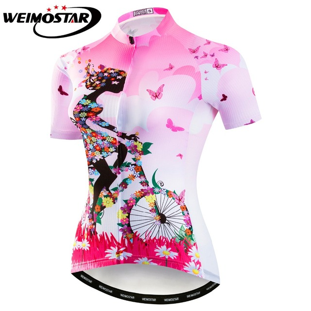 Pink Green Cycling Jersey Women Bike Top Shirt Summer Short Sleeve MTB  Cycling Clothing Ropa Maillot Ciclismo Bicycle Clothes fd7ddadf0