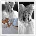 Fashion 2017 Dazzling Latest Design Ball Gown Wedding Dresses Handmade Bling Beading Long Bridal Gowns Dress Vestido de Noiva