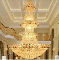 Duplex floor living room large chandelier European crystal chandelier building middle floor villa staircase chandelier hall long