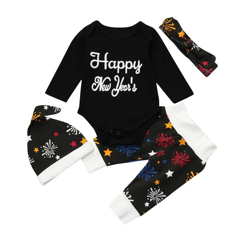 все цены на 1 set Baby Christmas Clothes My First New Year Fireworks Long Sleeve Romper Pants Hat Headband Baby Outfits Newborn Clothing