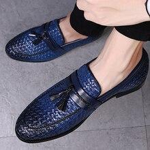 Duży rozmiar 38 48 tassel plaid mężczyźni mokasyny tkactwo wygodne miękkie męskie skórzane buty 2019 moda sapato masculino