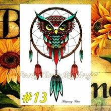 «El Búho Sabio» Dreamcatcher Temporal Cuerpo Arte, Flash Del Tatuaje Sticker 21*15 cm, a prueba de agua Tatuaje Etiqueta de La Pared para la Decoración Casera