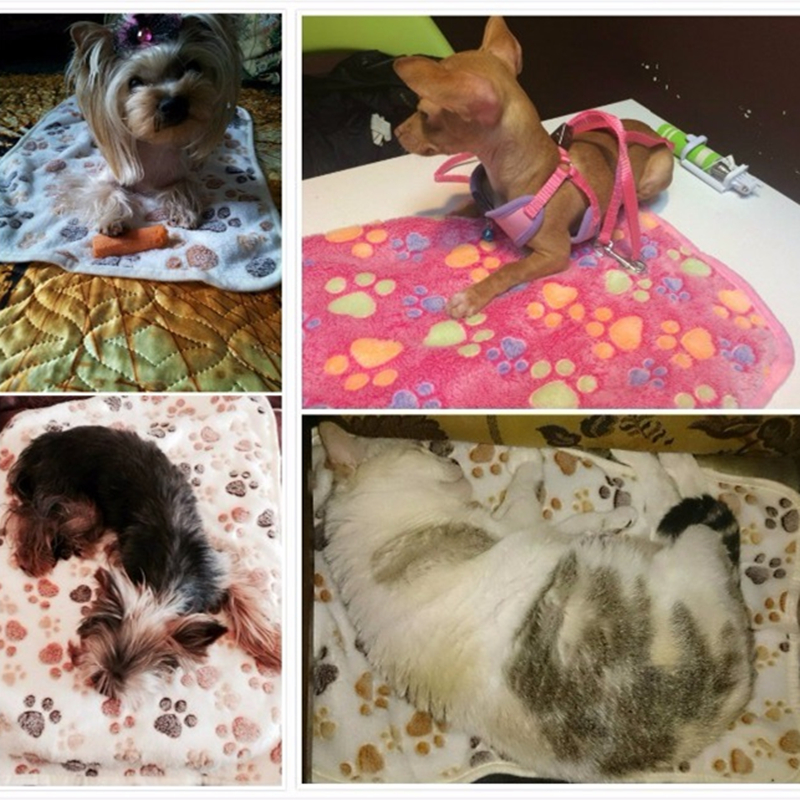 3-color-Cute-Floral-Pet-Sleep-Warm-Paw-Print-Dog-Cat-Puppy-Fleece-Soft-Blanket-Beds