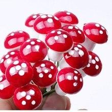 10Pcs Mini Red Mushroom Garden Ornament Miniature Plant Pots Fairy DIY Dollhouse AA Z