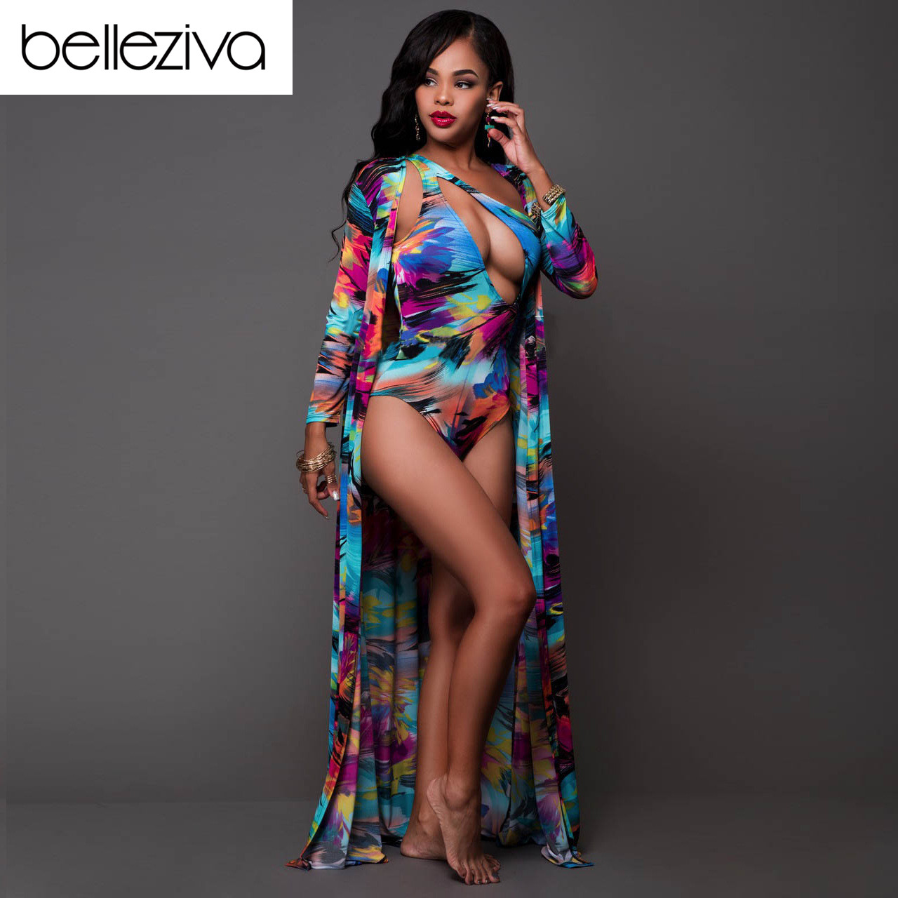 b0ad9b75c3 Detail Feedback Questions about Belleziva New Summer Sexy Hot Colorful  Print One Piece Swimwear Beach Cover Up Swimsuit Set Brazilian Bathing Suit  Monokini ...